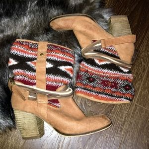 Steve Madden Western Print Strappy Boots